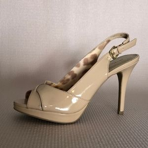 Shoes - Nude Patent Leather Peep Toe